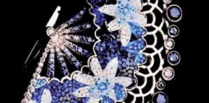 Sicis Jewelry: Blue Fan (white gold, diamonds, sapphires and micro mosaic)