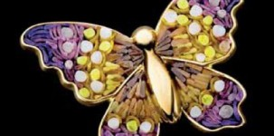Sicis Jewelry: Happy Charm Violet (gold, yellow sapphires and micro mosaic)