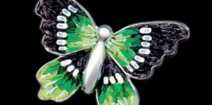 Sicis Jewelry: Happy Charm Green (white gold, black diamonds and micro mosaic)