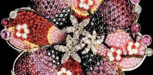 Sicis Jewelry: Beauty Flower Pink (white gold, diamonds, black diamonds, pink sapphires and micro mosaic)