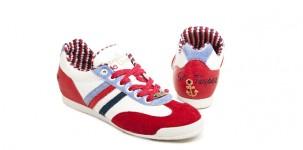 Sneaker Serafini ST TROPEZ: in pelle bianca e rossa, con interno a