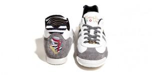 Sneaker Serafini VENEZIA: in pelle bianca e inserti suede grigio, con interno stripes bianco e blu e ricamo sul retro