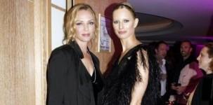 """L'attrice Uma Thurman, membro della giuria al Festival di Cannes, indossa il modello """"Fiona"""" della collezione Jimmy Choo 24/7. Karolina Kurkova indossa il modello """"Emily"""", sempre firmato Jimmy Choo"""