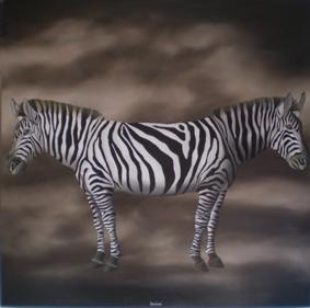 """Carlo Trevisan """"Twins, il Doppio e l'Io"""" olio su tela 120 x 120 cm"""