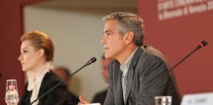 L'attore George Clooney durante la conferenza stampa (foto ASAC)